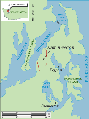 Map showing the locaiton of Naval Base Kitsap Bangor